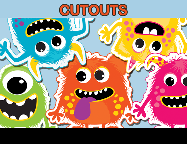 Little cut outs party. Monster clipart cutout