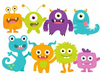 Little birthday cute monsters. Monster clipart cutout