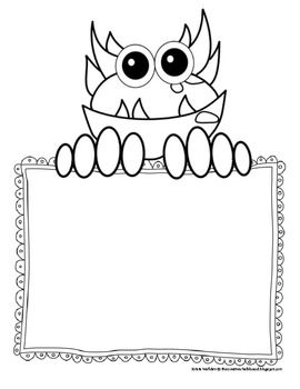 Monster clipart kindergarten. Free writing papers printables