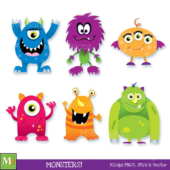 Monster clipart mini monsters. Clip art scary fun