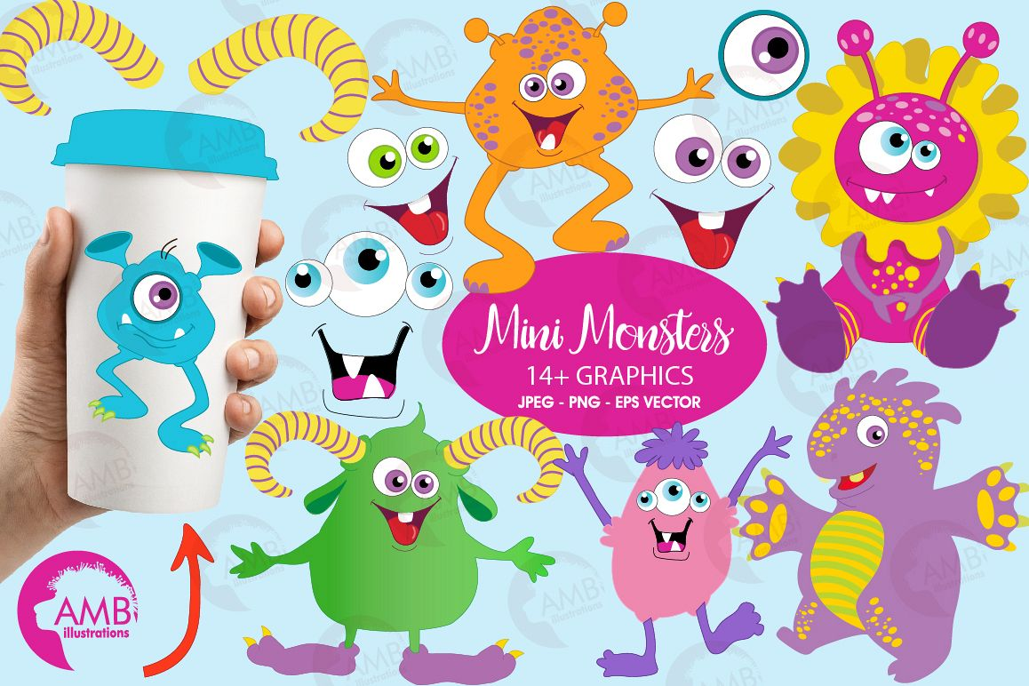 Monster clipart mini monsters. Cute graphics and illustration