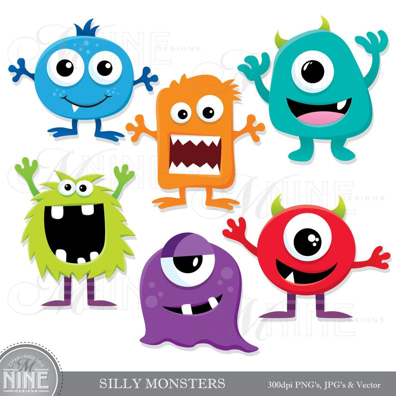 Silly clip art downloads. Monster clipart mini monsters