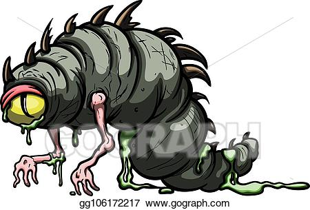 Vector worm eps . Monster clipart slimy