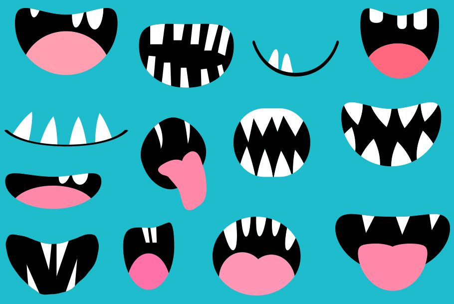 Funny mouths set halloween. Monster clipart tongue