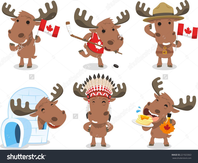 Moose clipart animal canada. Stock vectors vector clip