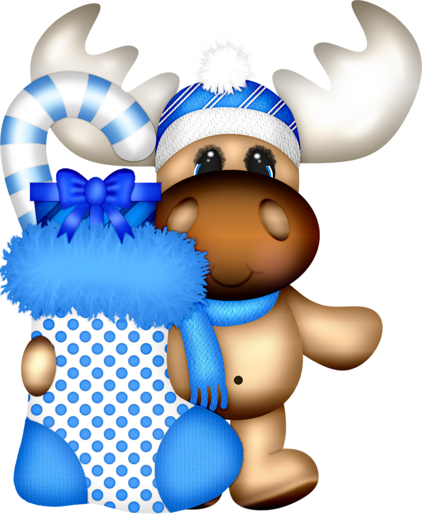 Holiday blue stockings moose. Surprise clipart christmas