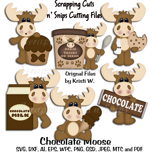 Chocolate cutting files scrapping. Moose clipart dxf