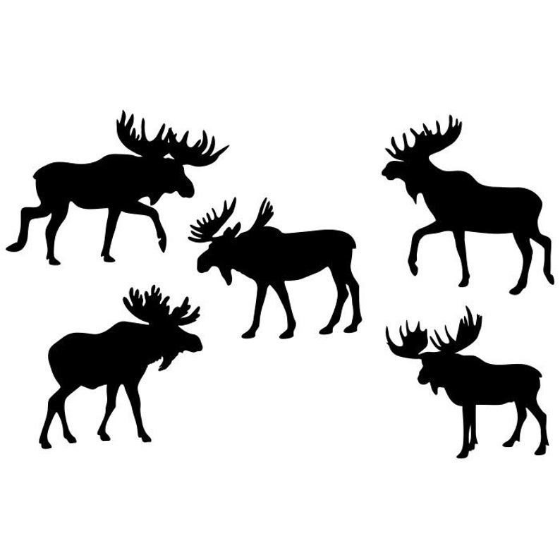 Silhouettes eps pdf png. Moose clipart dxf
