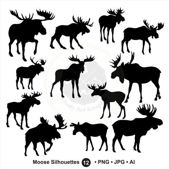 Moose clipart file. Silhouettes svg head bundle