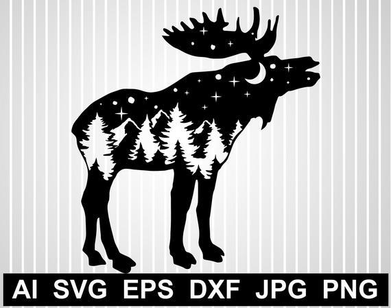 Mountain range svg png. Moose clipart file