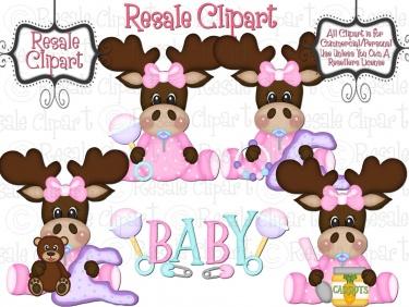 Baby girls meylah . Moose clipart girl moose