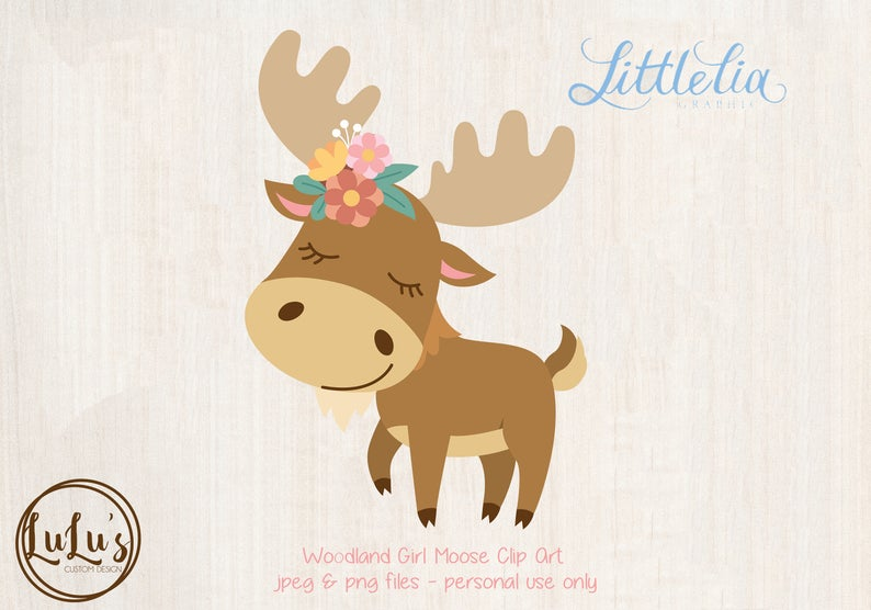 Moose clipart girl moose. Woodland clip art baby