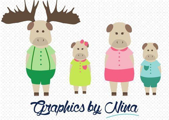 Moose clipart moose family. Animal clip art