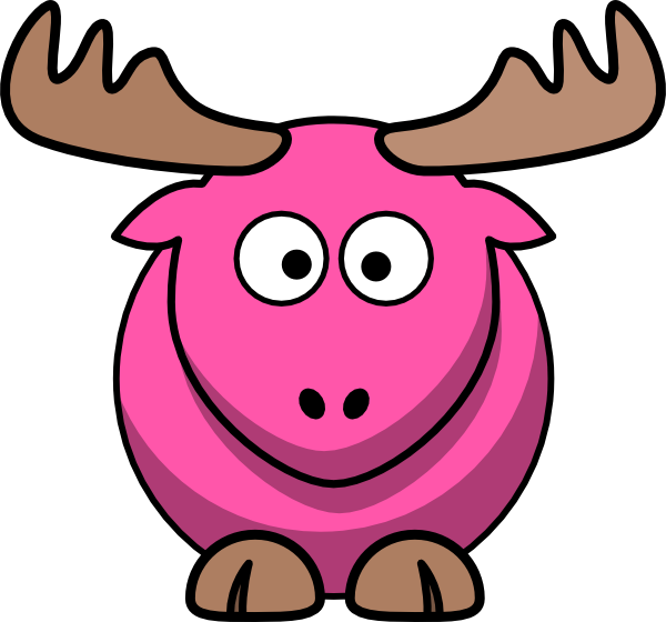 Cartoon clip art at. Moose clipart pink