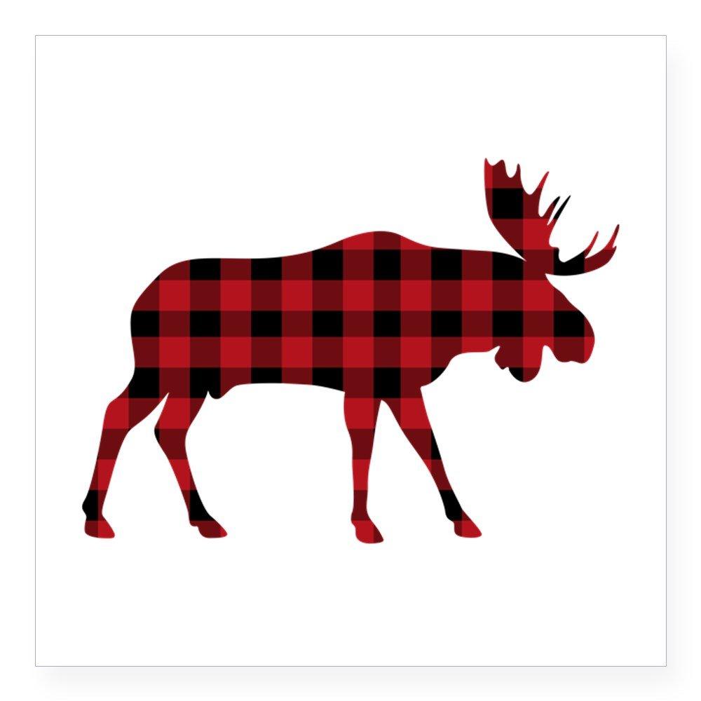 Cafepress animal silhouette sticker. Moose clipart plaid