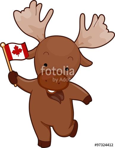 Mascot flag stock image. Moose clipart symbol canada