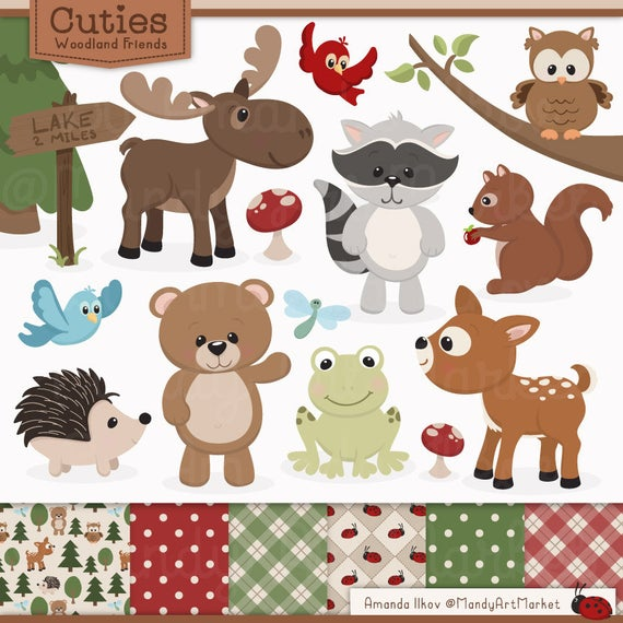 Woodland clipart clip art. Cute animals papers animal