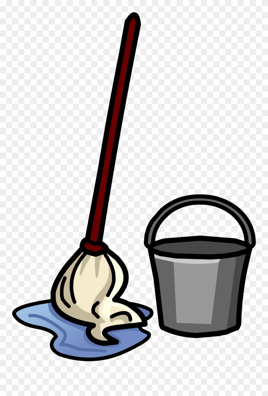 Bucket broom janitor cleaning. Housekeeping clipart pail
