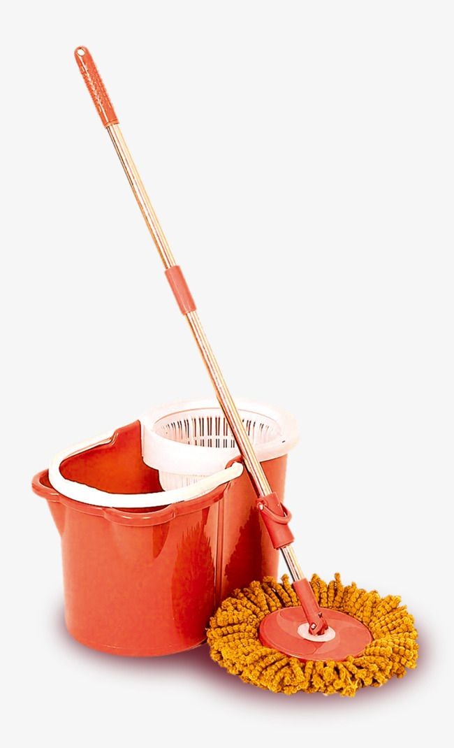 Household bucket architecture cleaning. Mop clipart red