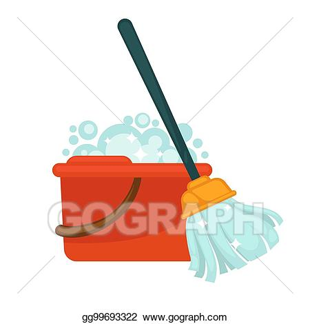 Eps vector plastic bucket. Mop clipart red