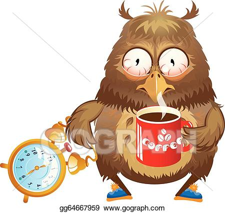 Vector early funny owl. Morning clipart morning time