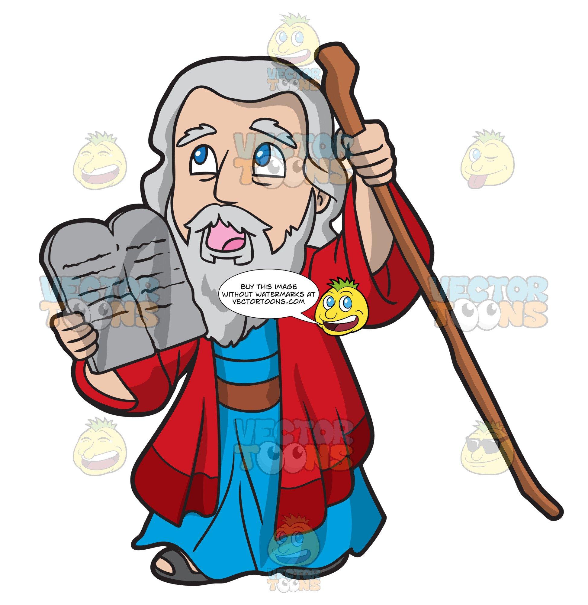 Holding the ten commandments. Moses clipart 10 commandment