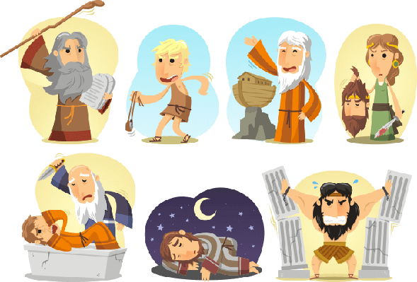 Moses clipart bible noah. Heroes samson judith david
