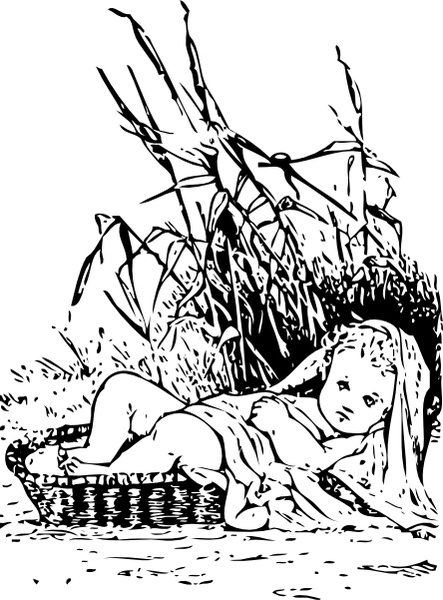 Moses clipart bulrush clipart. In the bulrushes clip