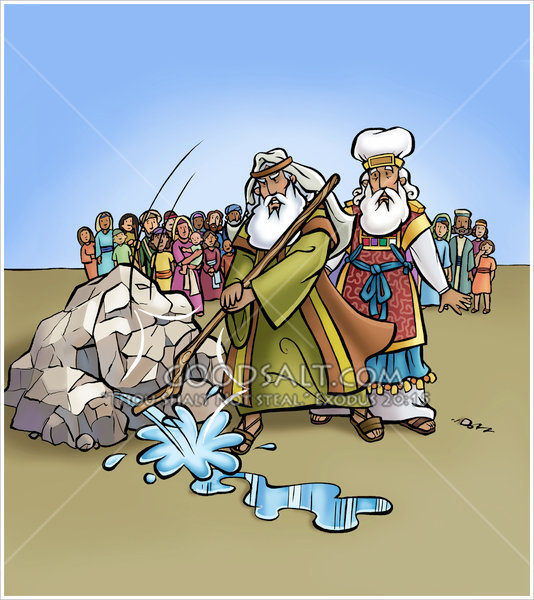 Strikes the . Moses clipart rock