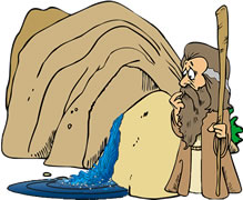 Water from a children. Moses clipart rock