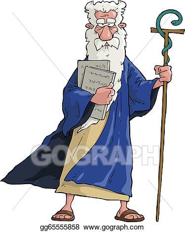 Vector art cartoon eps. Moses clipart staff moses