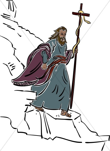 Moses clipart staff moses. Walking with and snake
