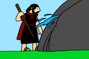 Moses clipart struck the rock. Does not honour god