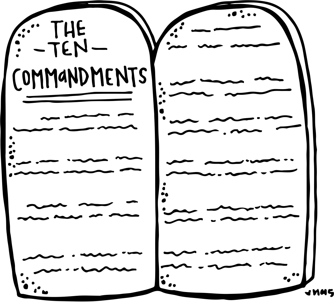 Ten commandments clipart drawing.  collection of black