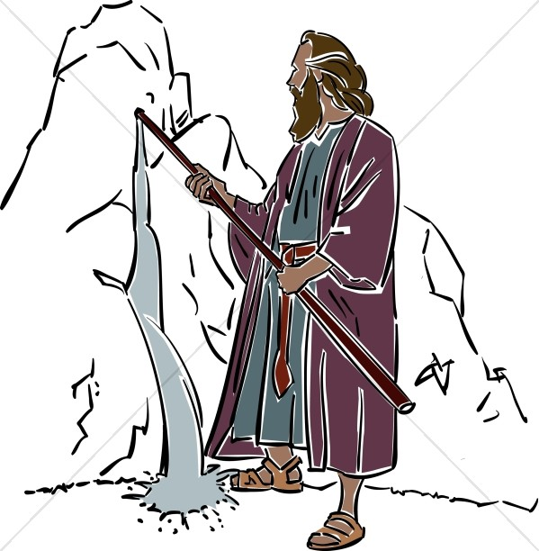 Moses clipart twice. Draws water from the