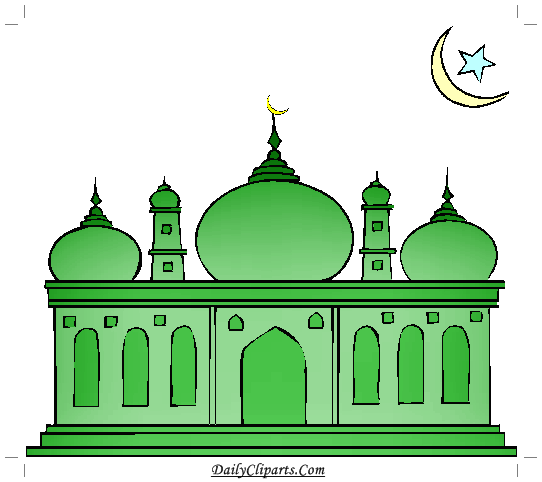 Green daily cliparts . Mosque clipart