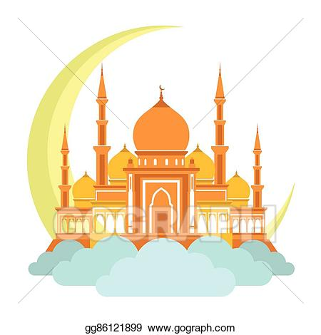 Vector on clouds with. Mosque clipart
