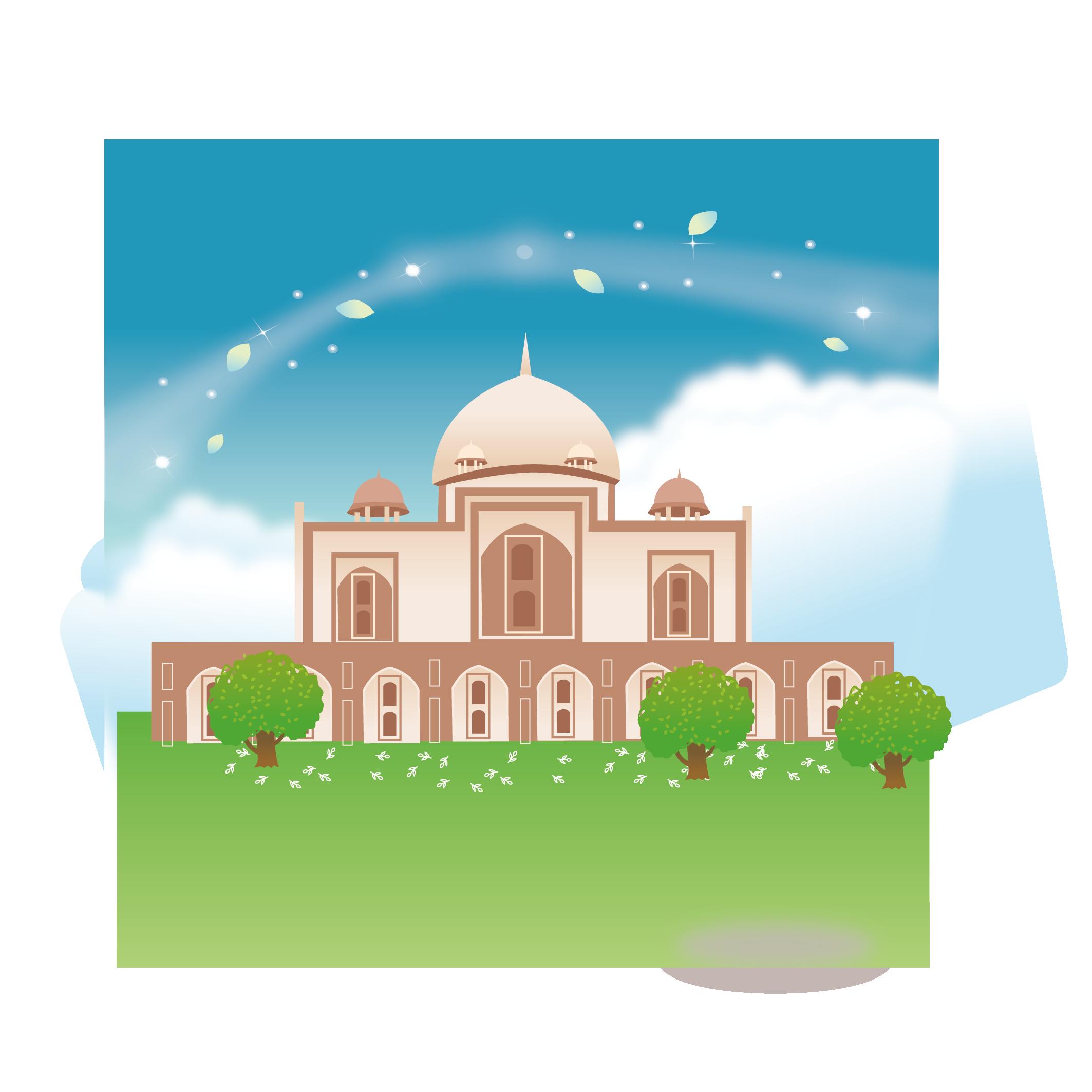 Mosque clipart abstract. Taj mahal cartoon illustration