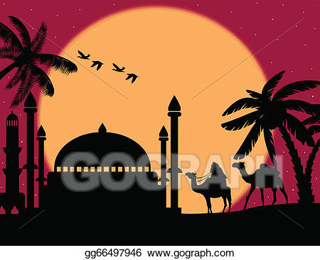 Vector bedouin with camels. Mosque clipart abstract
