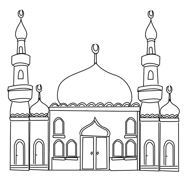 Station . Mosque clipart black and white