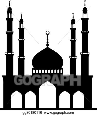 Mosque clipart black and white. Vector art on drawing