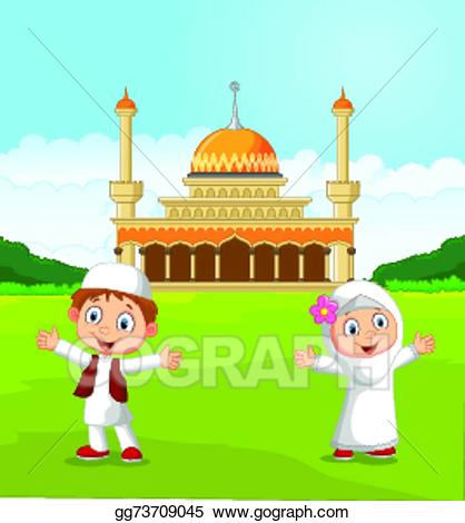 Mosque clipart cartoon. Vector stock happy muslim