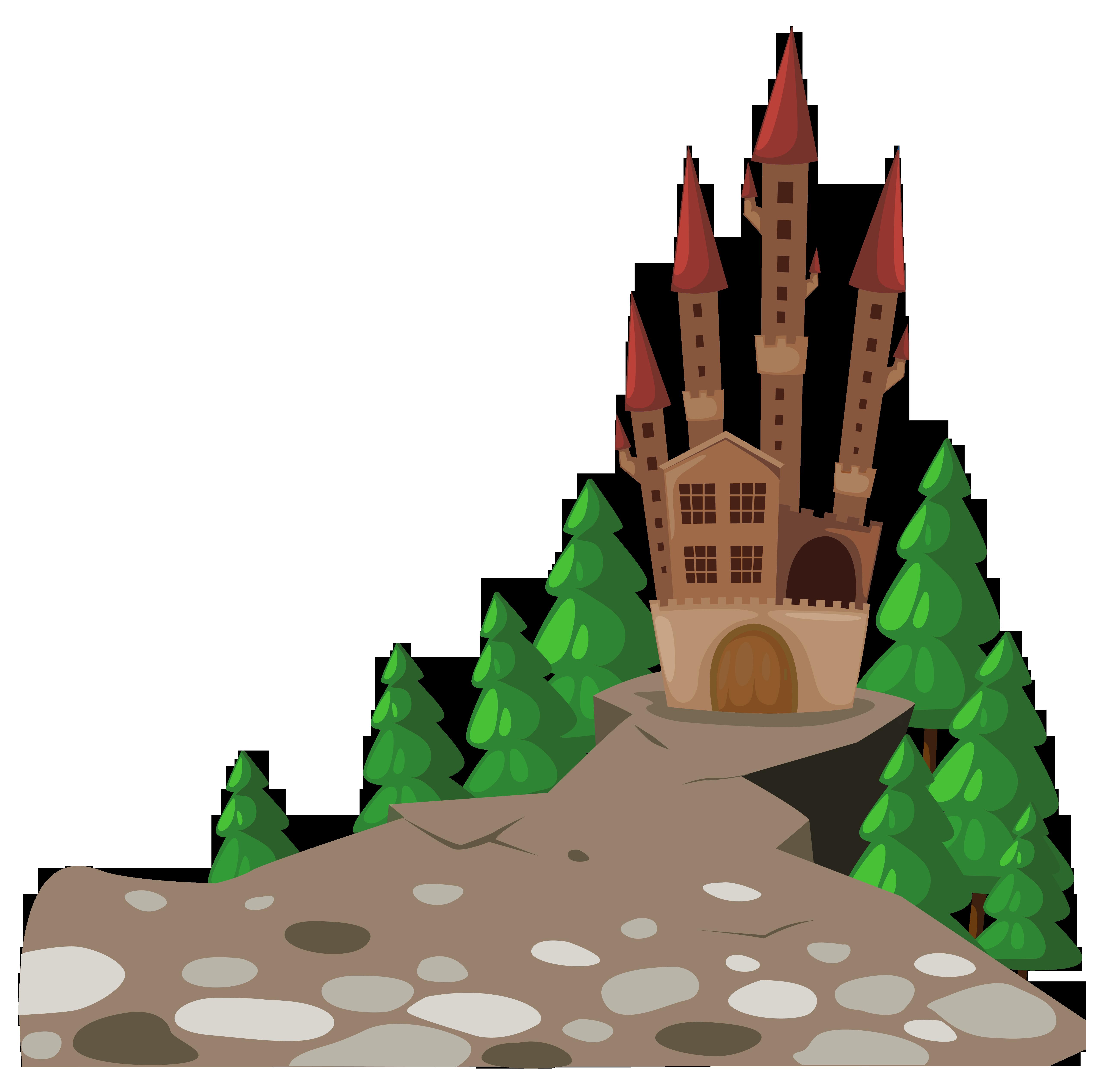 Mosque clipart cartoon. Transparent castle and pines