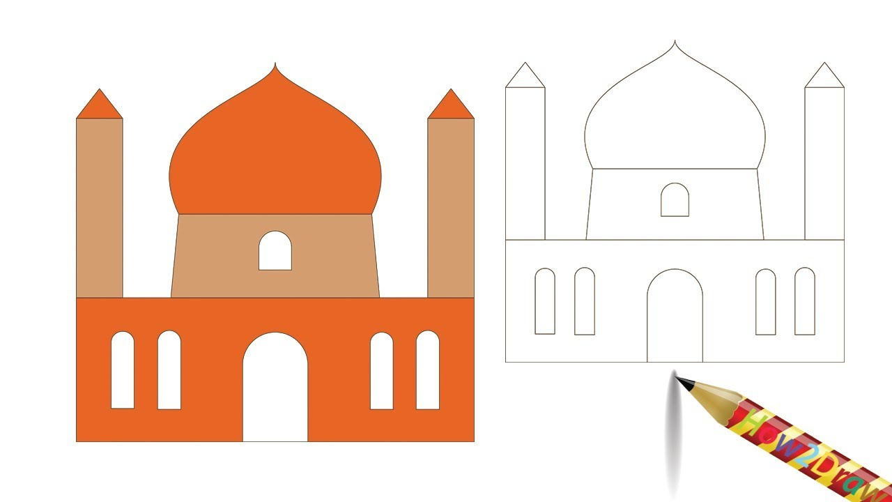 Mosque clipart easy draw. How to a drawing