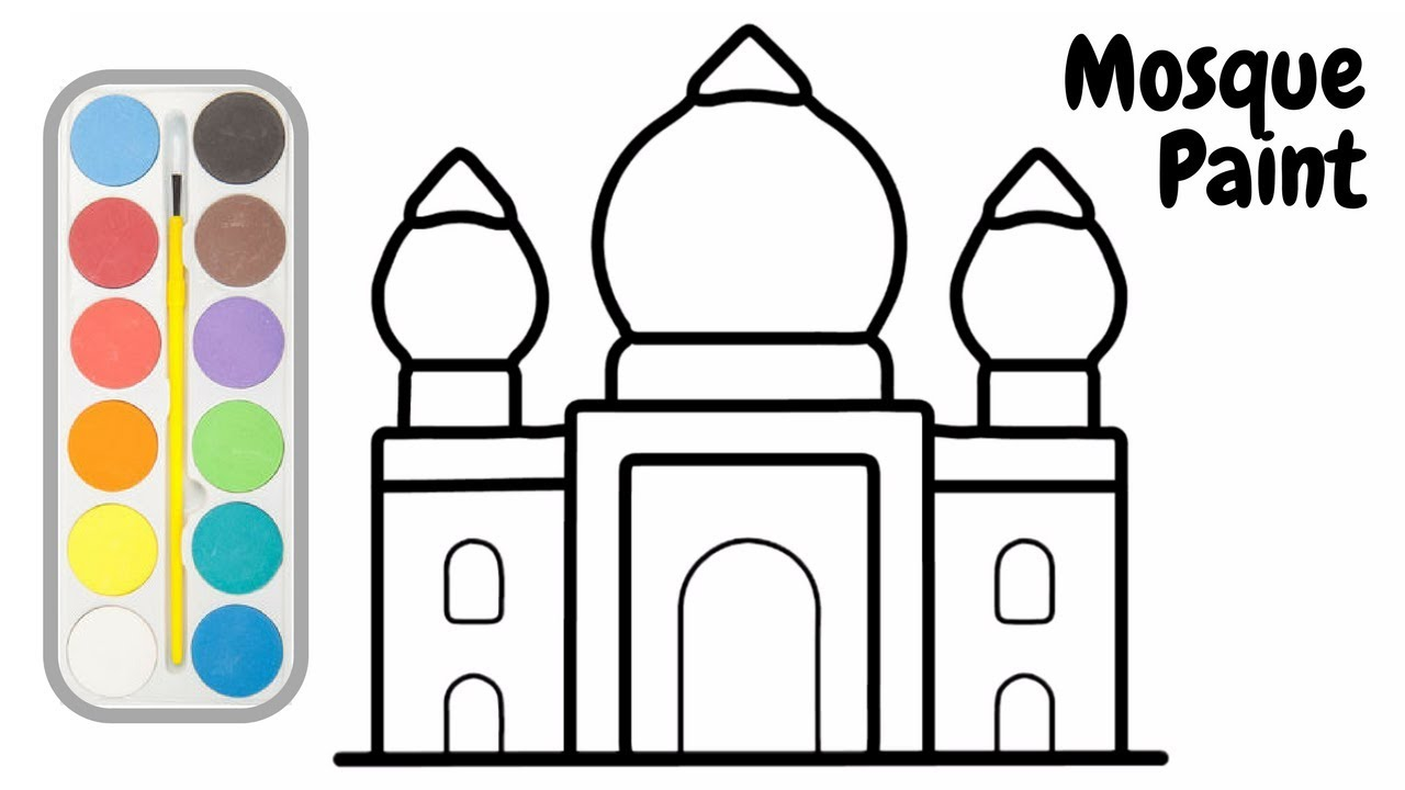 Mosque clipart easy draw. Drawings and coloring book