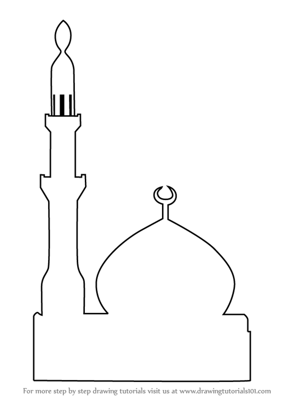 Drawing for kids at. Mosque clipart easy draw