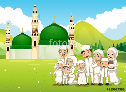 Mosque clipart extended family. A big muslim in