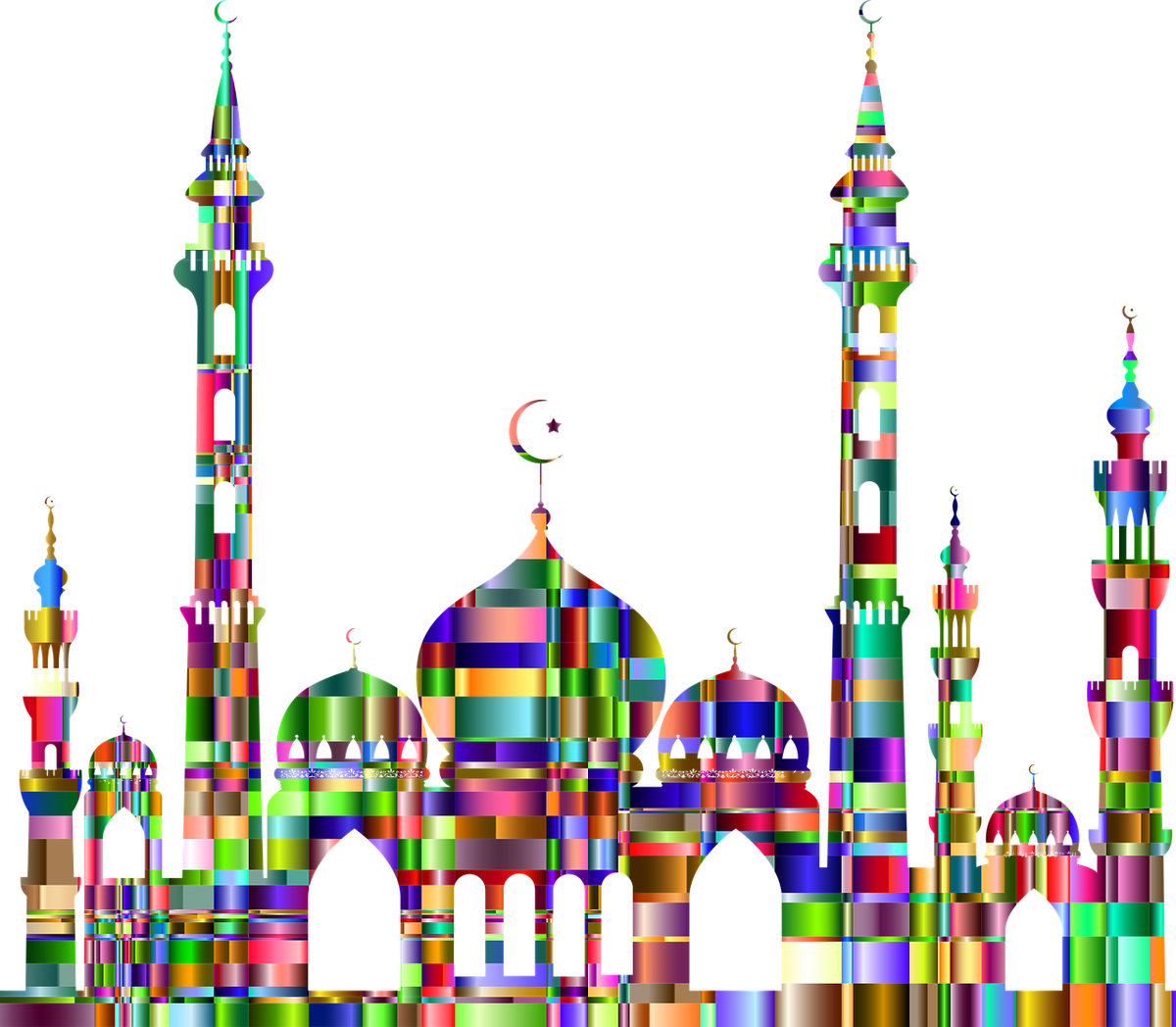 The war of gods. Mosque clipart illustration