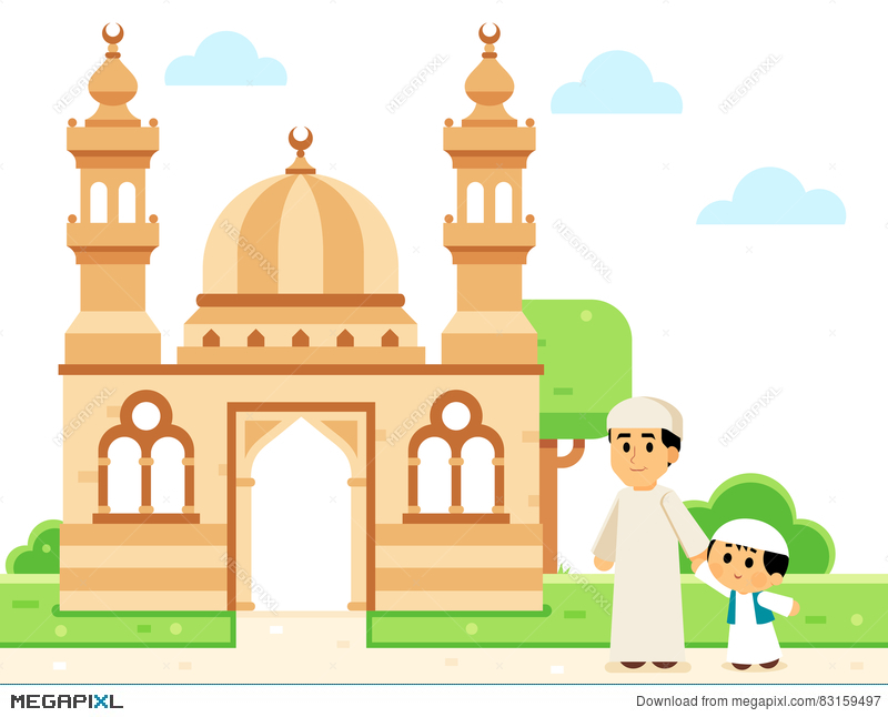Mosque clipart illustration. Father and son going