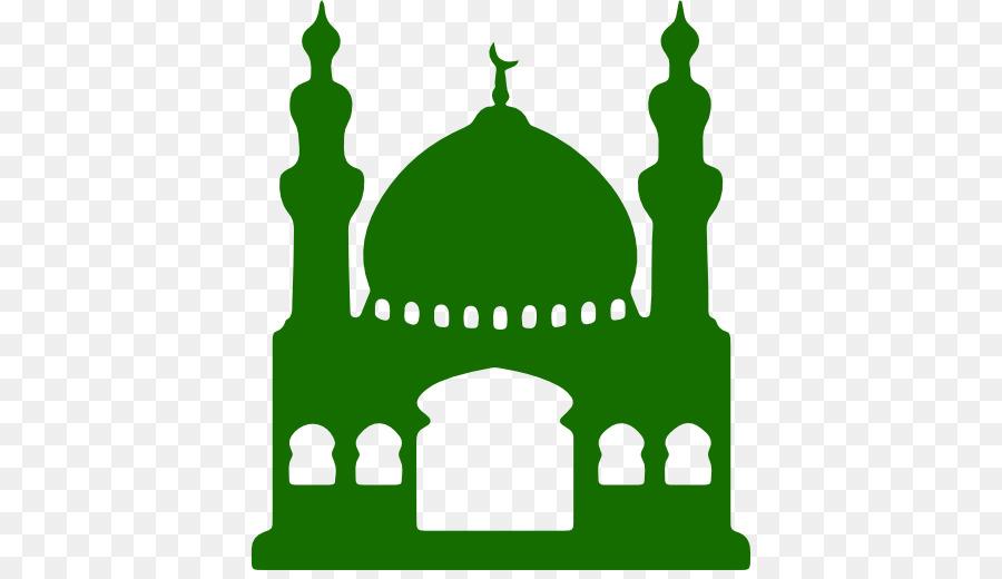 Green grass background islam. Mosque clipart masjed